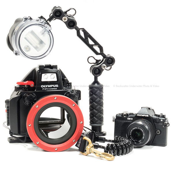 Olympus E-M5 II Camera, Lens, PT-EP13 Underwater Housing & Strobe Package
