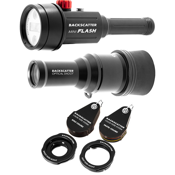 Backscatter Mini Flash MF-1 Underwater Strobe, OS-1 Snoot & Color Filter Package