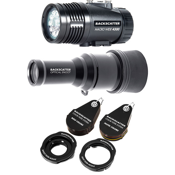 Backscatter MW-4300 & OS-1 Underwater Video Light, OS-1 Snoot & Color Filter Package