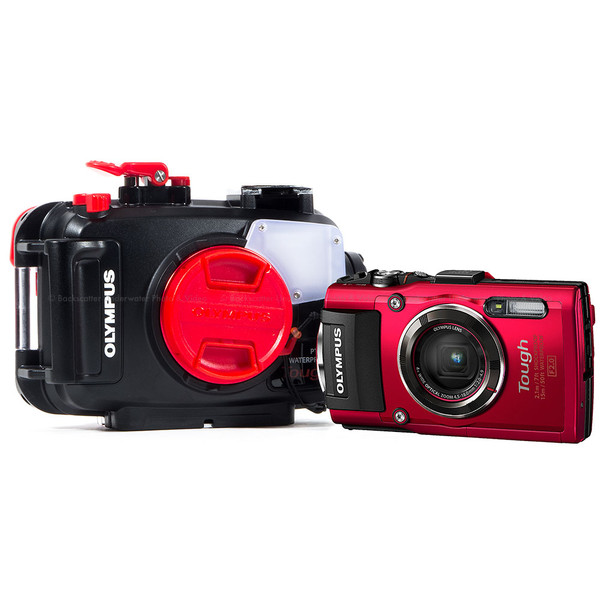 Olympus Tough TG-4 Waterproof Compact Red Camera & Olympus PT-056 Underwater Housing
