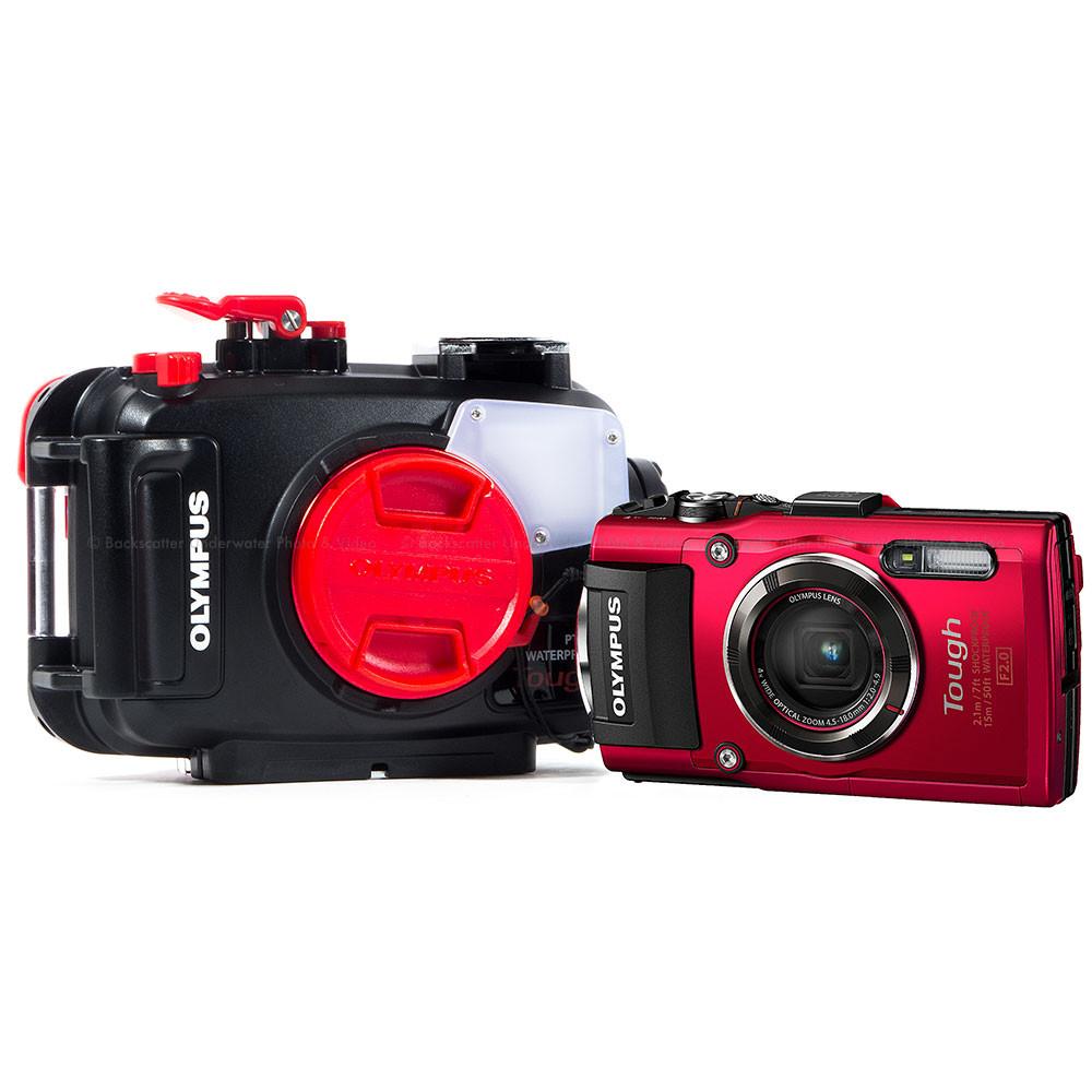 Olympus Tough TG-4 Waterproof Compact Red Camera & Olympus PT-056 Underwater Housing