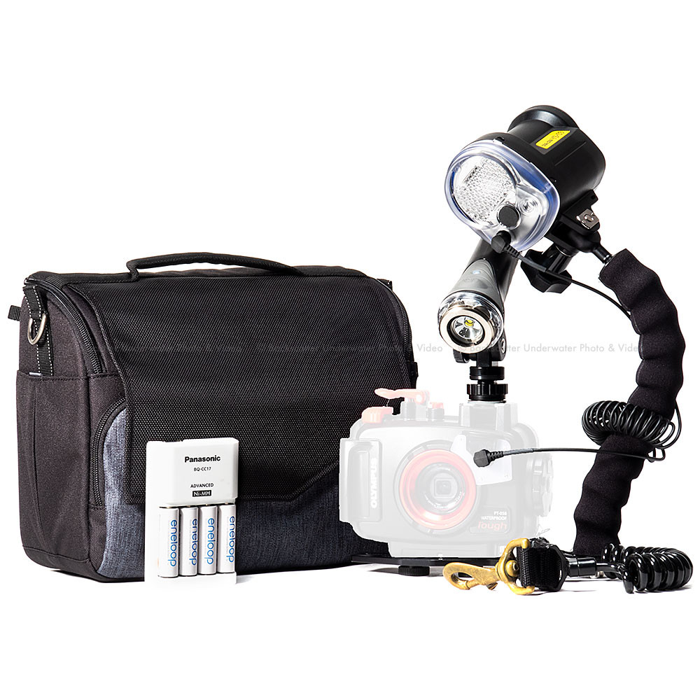 Video Light and Strobe Travel Package for Olympus TG-5 or TG-6 Camera and Housing
