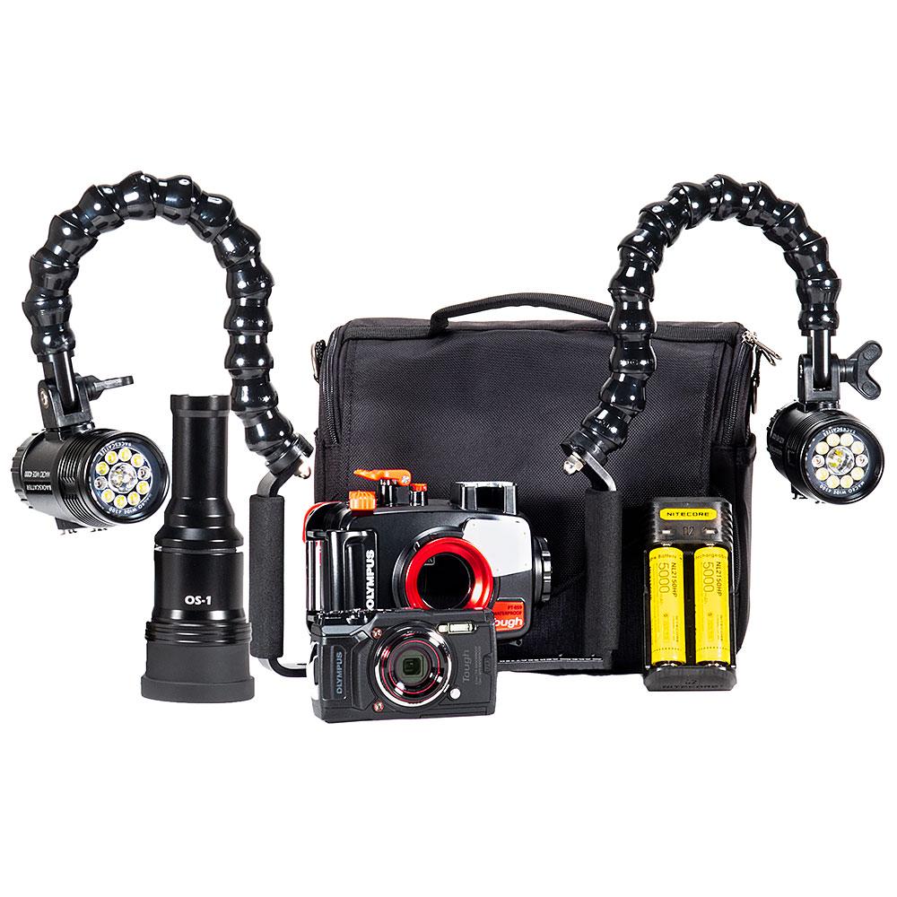 Olympus TG-6, PT-059 Housing & Dual MW-4300 Underwater Video Light & Snoot Package