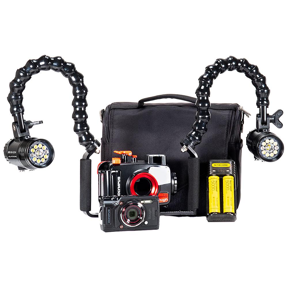 Olympus TG-6, PT-059 Housing & Dual MW-4300 Underwater Video Light Package