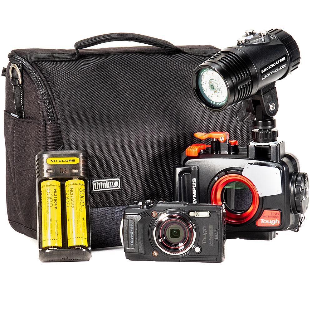 Olympus TG-6, PT-059 Housing & MW-4300 Underwater Video Light Package