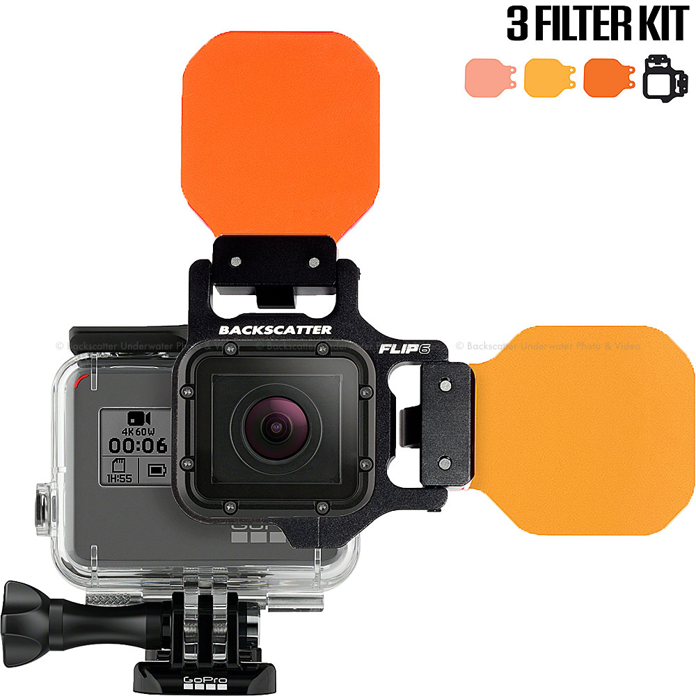 FLIP6 Three Filter Kit with SHALLOW, DIVE & DEEP Filters for GoPro 3, 3+, 4, 5, 6