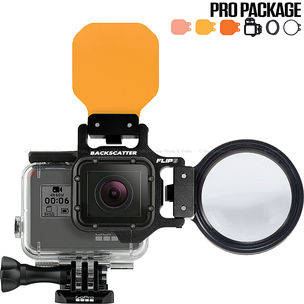 FLIP6 Pro Package with SHALLOW, DIVE & DEEP Filters & +15 MacroMate Mini Lens for GoPro 3, 3+, 4, 5, 6
