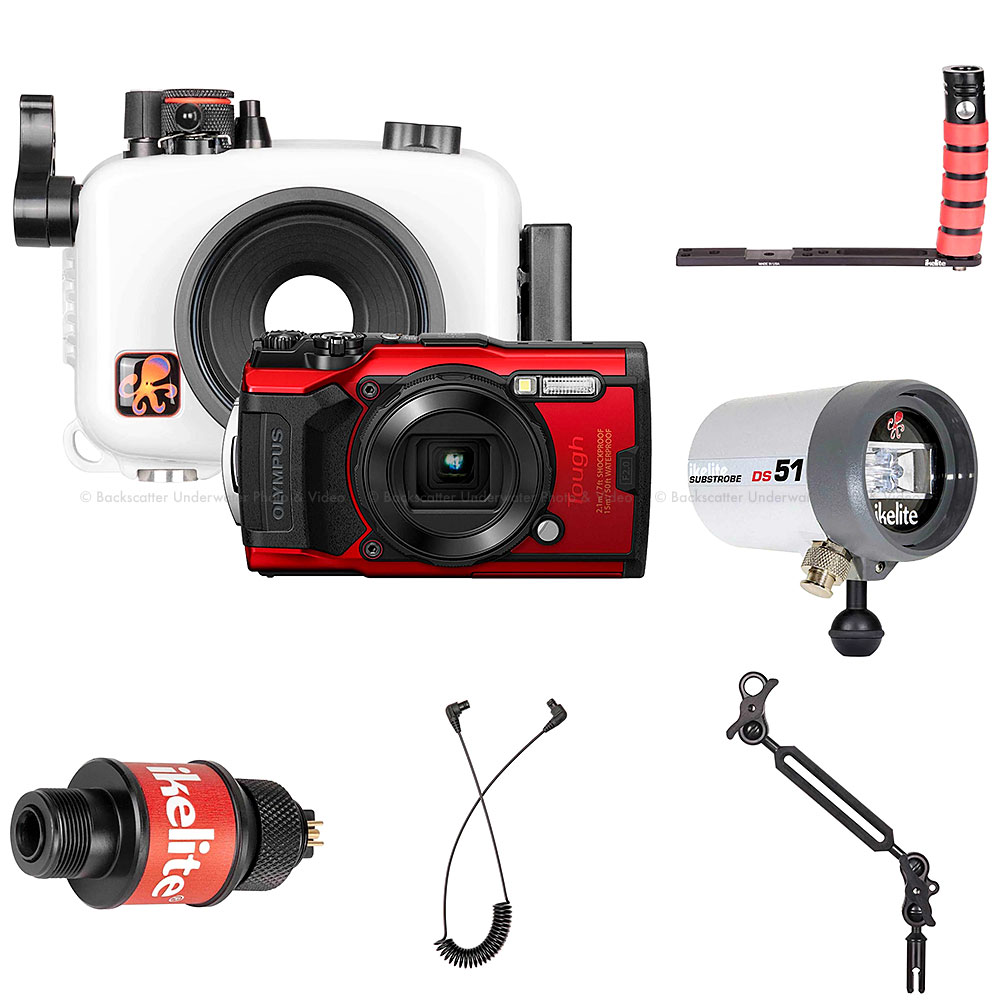 Ikelite Underwater Housing, Olympus Tough TG-6 Camera and Strobe Deluxe Kit