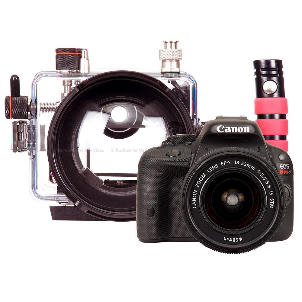 Canon Eos 100d Rebel Sl1 Dslr Camera Lens Kit And Ikelite 18 55 Is Stm 100 D Underwater Housing