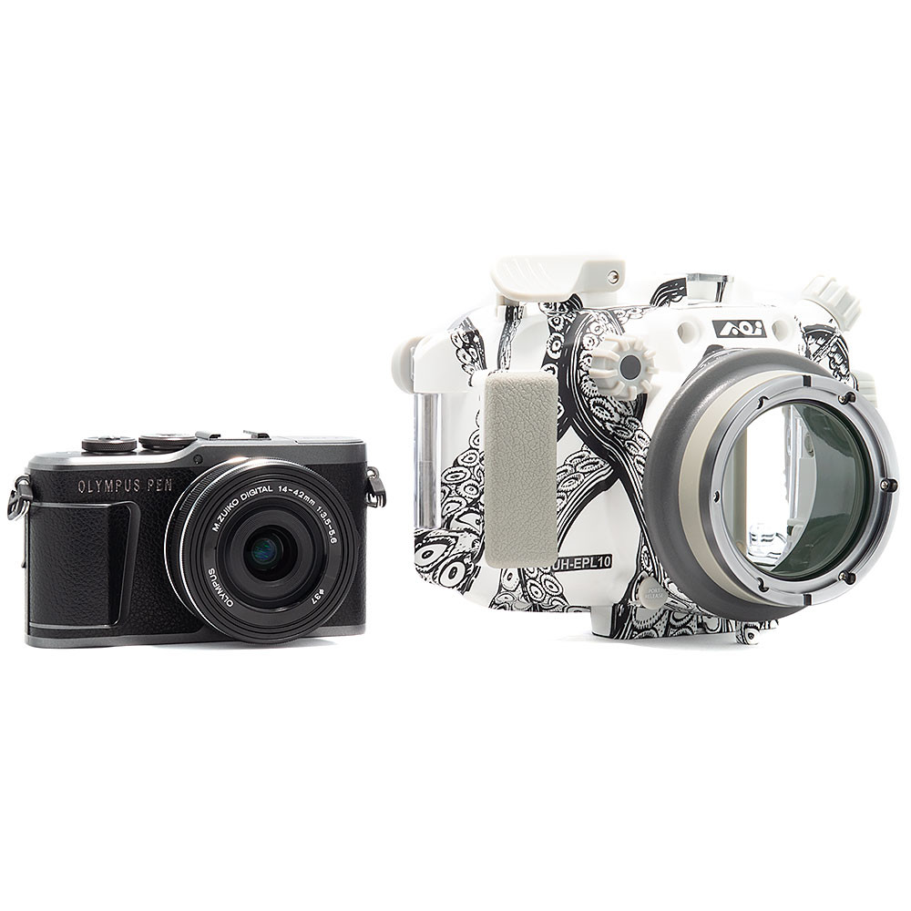 Olympus PEN E-PL10 Camera & 14-42mm EZ Lens Kit with Backscatter Octo Underwater Housing