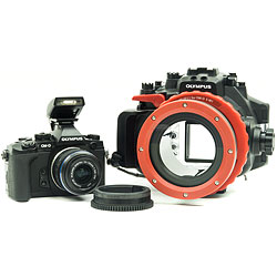 Olympus OM-D E-M1 Camera, 14-42mm II Lens, PT-EP11 Underwater Housing, PPO-EP01 Lens Port & 14-42mm Zoom Gear ol-v207010bu030.jpg