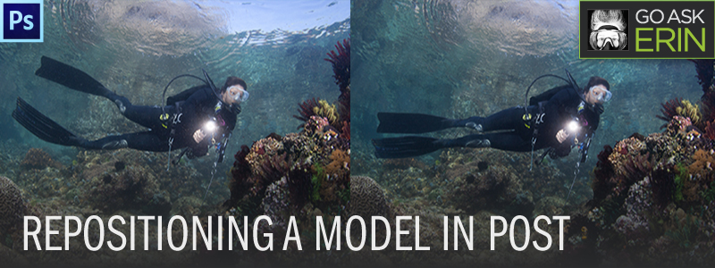 Photoshop:  Fixing the pose on an underwater model