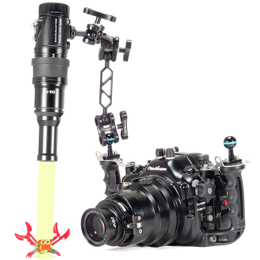 Backscatter Macro Wide 4300 & OS-1 Optical Snoot on a Camera System with Macro Subject