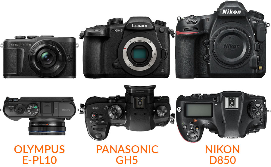 [product photo: size comparison between E-PL10, GH5 D850