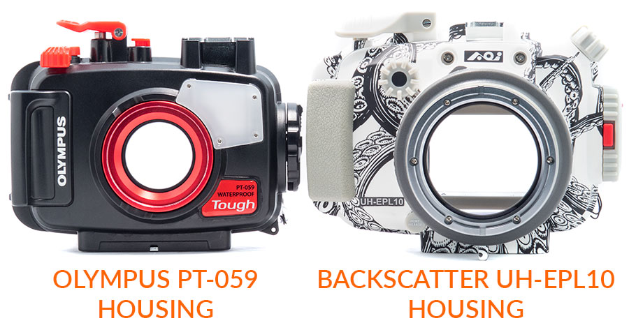 [product photo: underwater housing size comparison between PT-059 and AOI UHELP10]