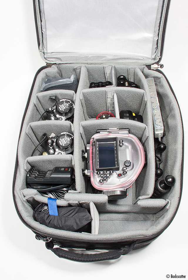 Thinktank carry-on bag packed with underwater camera system