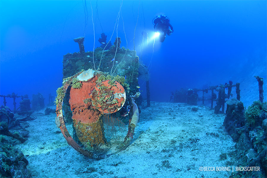 ©Becca Boring - Truk Lagoon - Diver on Wreck