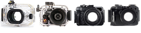 Canon WP-DC47, Ikelite RX100, Recsea RX-100, and Nauticam <a href='http://www.backscatter.com/sku/na-17404.lasso' class='standard'>NA-RX100</a> housings for the Canon PowerShot S100