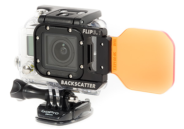 Backscatter GoPro Flip3.1 underwater filter in flip positions
