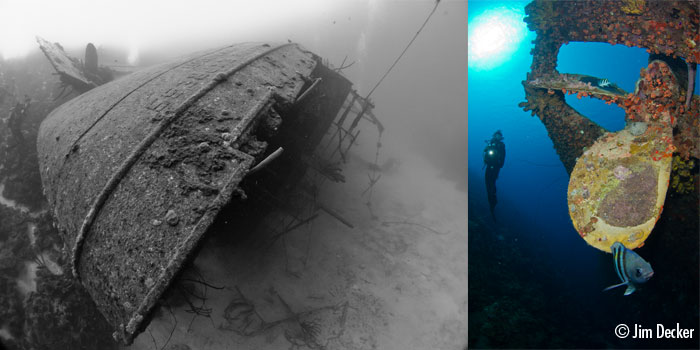 One of Bonaire's most famous wrecks, the Hilma Hooker