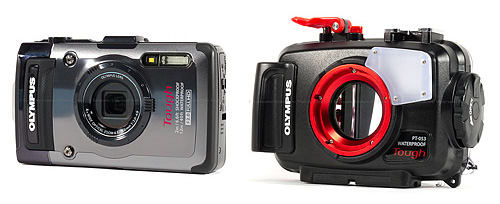 The Olympus <a href='http://www.backscatter.com/sku/ol-v104120bu000.lasso' class='standard'>Tough TG-2</a> and <a href='http://www.backscatter.com/sku/ol-v6300550u000.lasso' class='standard'>PT-053 Underwater Housing</a>
