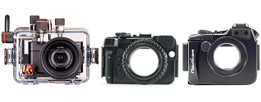 Ikelite, Recsea, and Nauticam housings for the Sony RX100