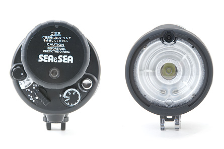 Sea & Sea <a href='http://www.backscatter.com/sku/ss-03108a.lasso' class='standard'>YS-250</a> Underwater Strobe - front and back detail